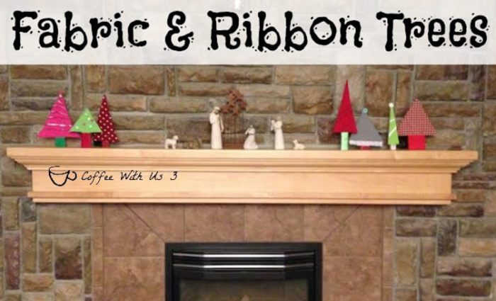 Mantle with Christmas trees made out of fabric from old clothes