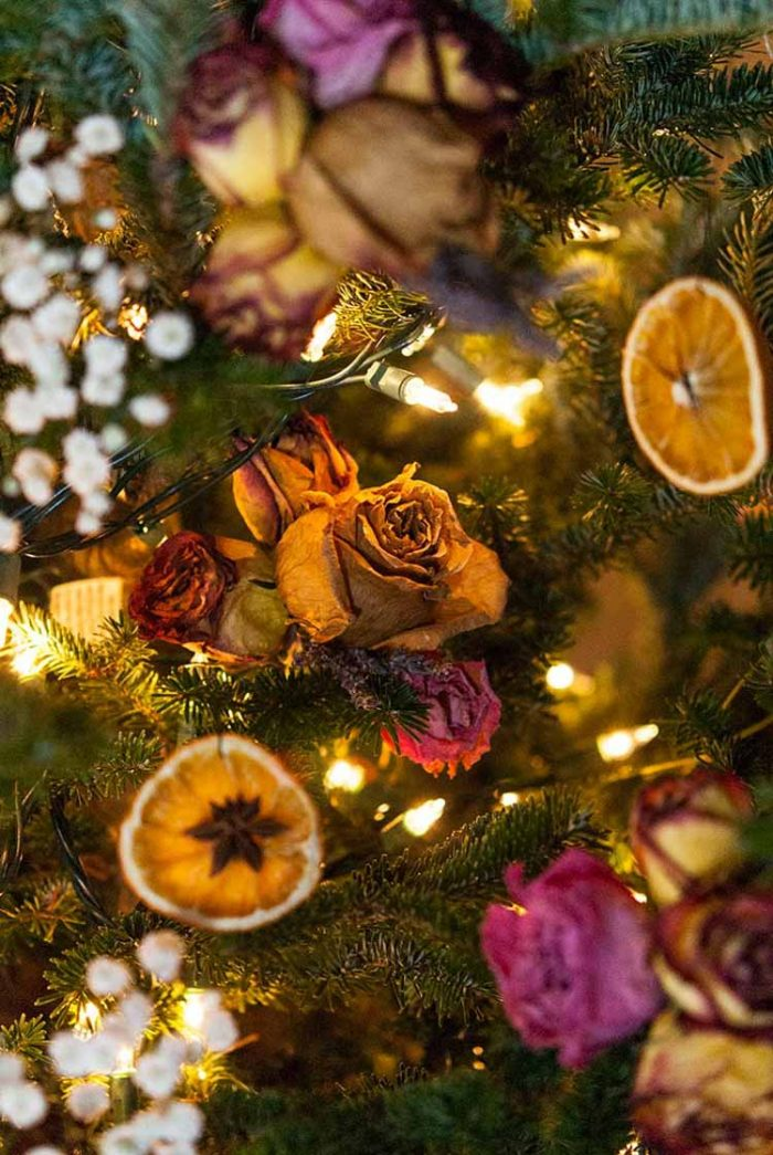 Holiday tree with dried oranges and star anise