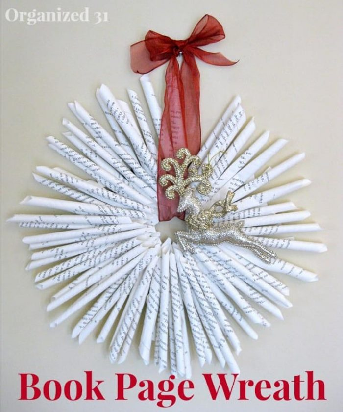 Wreath made out of rolled book pages