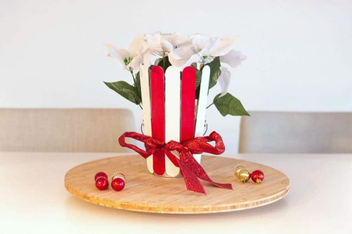 Red and White striped centerpiece for the table