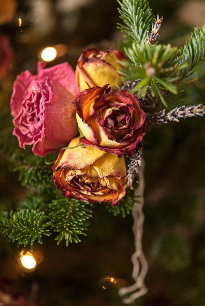 bouquet of dried flowers for decorating the tree