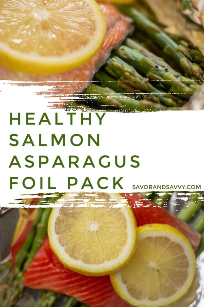 Healthy and Delicious Asparagus and Salmon Foil Packets are perfect for calorie counting and tastes just PERFECT for a fast evening meal. #salmon #asparagus #sheetpan #foilpack