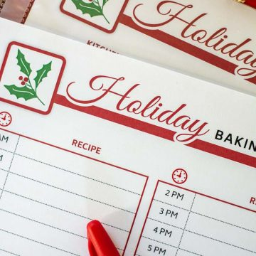 Baking Printable with hours of the day listed for proactive planning