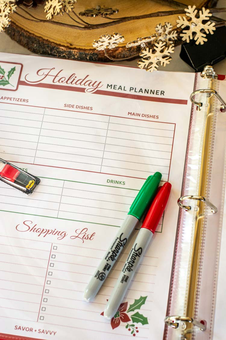 Holiday Meal Planner Printable includes a section for a shopping list