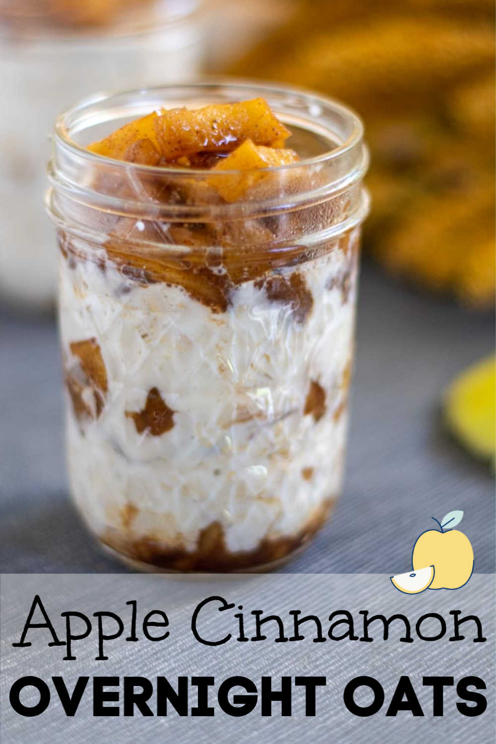 Baked Apple Cinnamon Overnight Oats is my new favorite meal prep breakfast. It takes just ten minutes to cook the apples but it is well worth it for this delicious meal in a jar! #applecinnamon #overnightoats #oatmeal #applepie #mealprep #makeahead