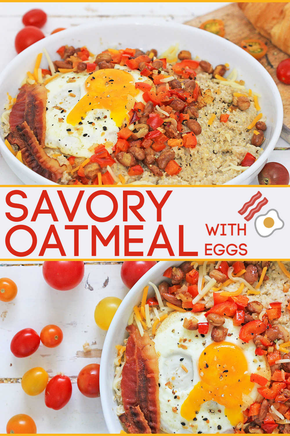 Delicious and EASY savory oatmeal with egg. This isn't just for breakfast. Adding peppers, beans, cheese and a sunny side up egg will have you craving this for make ahead dinners on those nights you just don't feel like preparing a fancy meal. #savory #oatmeal #savoryoats #breakfast #makeahead