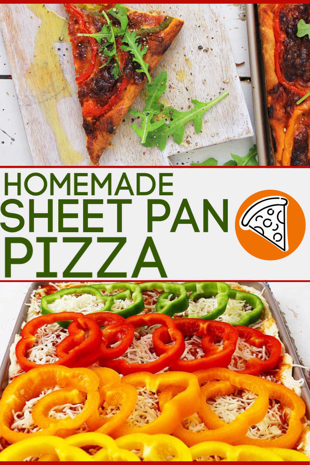 Homemade Sheet Pan Pizza is the perfect recipe for a Friday night after a hard week at work. Filled with Fresh vegetables, this is a frugal option to eating out. Add this to your family's favorite recipe list! #pizza #homemade #sheetpan
