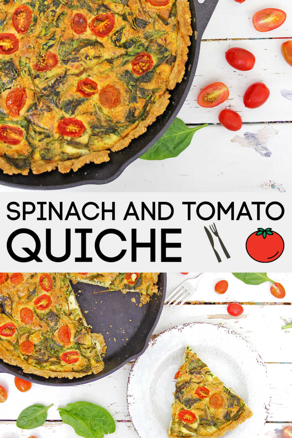 Spinach Tomato Quiche in a Cast Iron Skillet is a delicious way to start the morning. Filled with a fresh custard center, this is a perfect treat for a special occasion. #quiche #SpinachTomato #breakfast