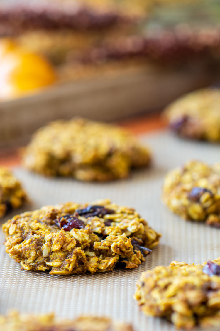 Closeup of baked pumpkin oatmeal cookie on the cookie sheet.