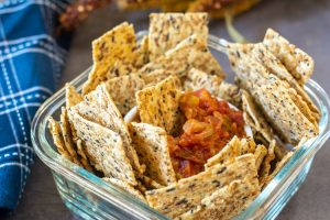 Multigrain crackers and chunky salsa