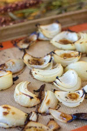 Roasted Onions on a sheet pan