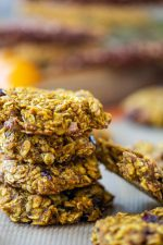 hearty breakfast cookies stacked on the silpat