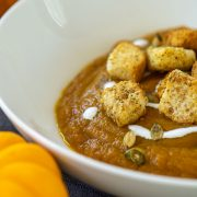 Vitamix Pumpkin Soup in a bowl with crunchy croutons on top