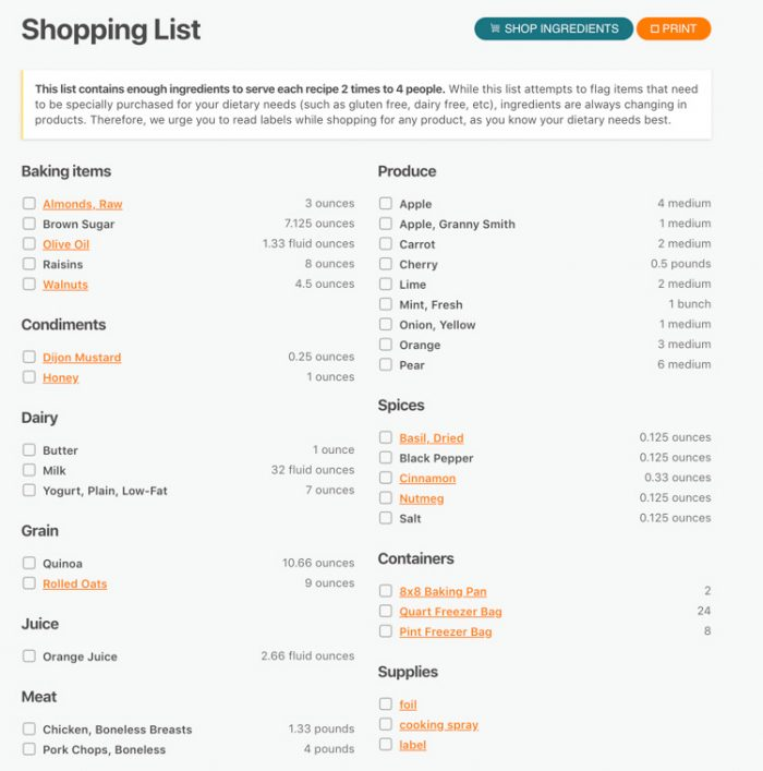 Dynamic Shopping List for your Custom Menu