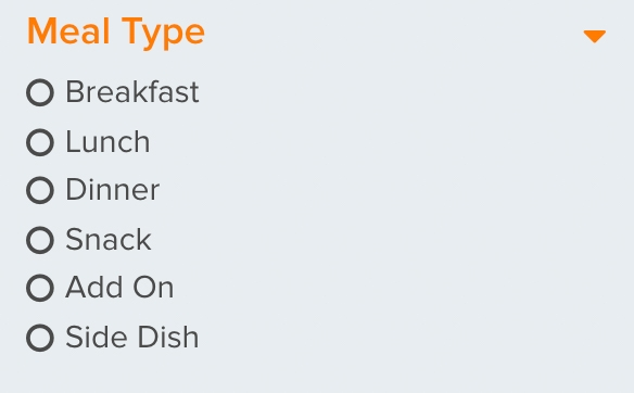 Filter for meal types