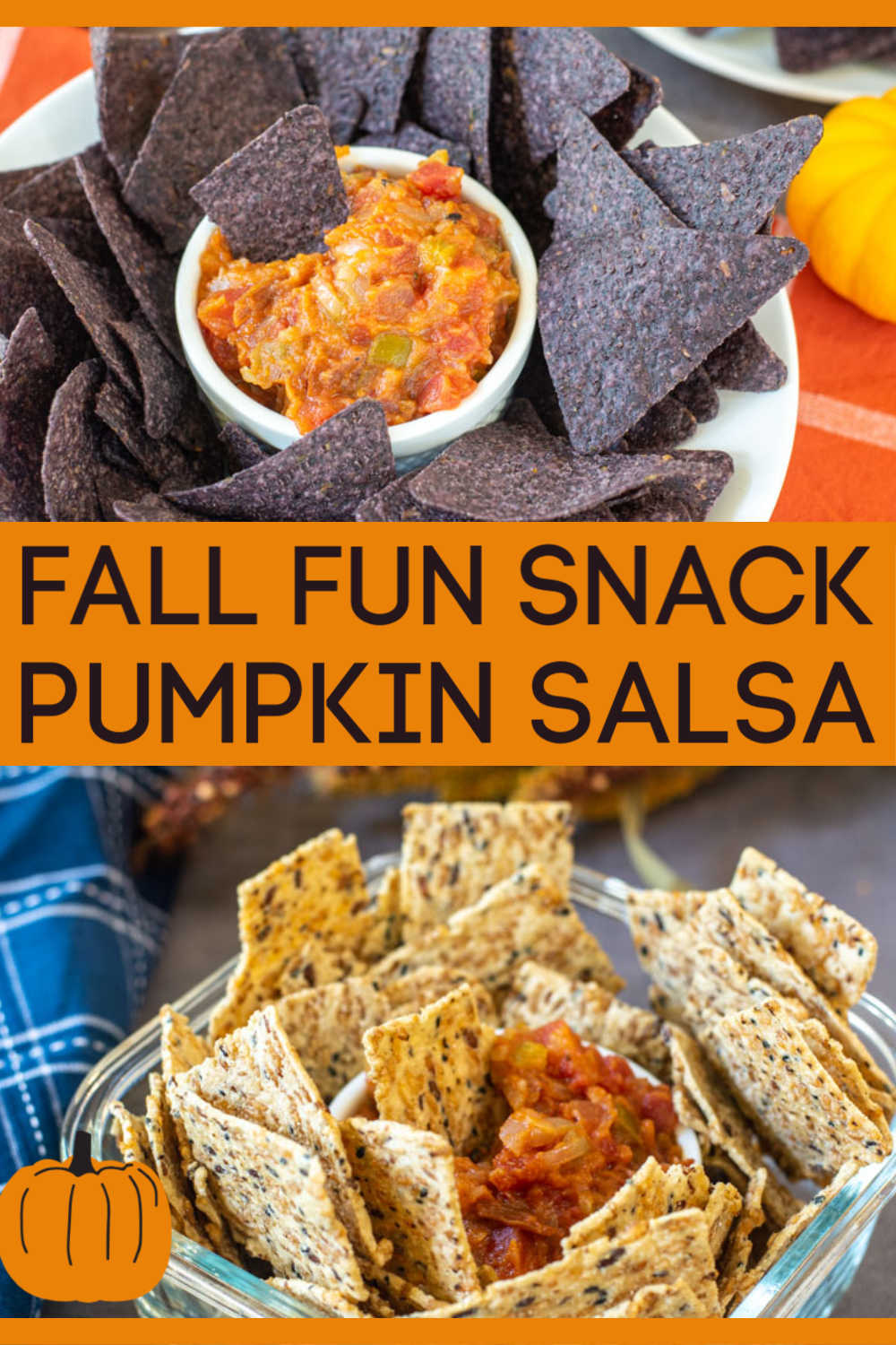 Pumpkin Salsa is easy to make and perfect for football games and BBQs alike. Made with a few hearty ingredients, this chunky dipping snack can be put together in minutes!