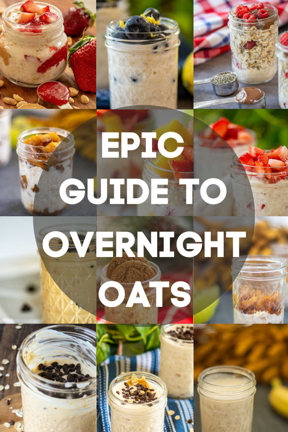 Everything you EVER wanted to know about overnight oats but were afraid to ask! This is the ultimate guide to the easiest (and tastiest) meal prep breakfast on the planet! Make several days\' worth of on-the-go breakfasts in just a few minutes and change the ingredients to make it something new each day! #OvernightOats #MealPrep #Breakfast #BreakfastPrep #OnTheGo