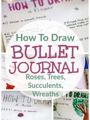 Learn how to draw Trees, Succulents, roses, flowers and wreaths for your bullet journal. The BUJO tracing sheets and guides will help you take your doodling to a whole new level #bujo #BulletJournal #HowToDraw