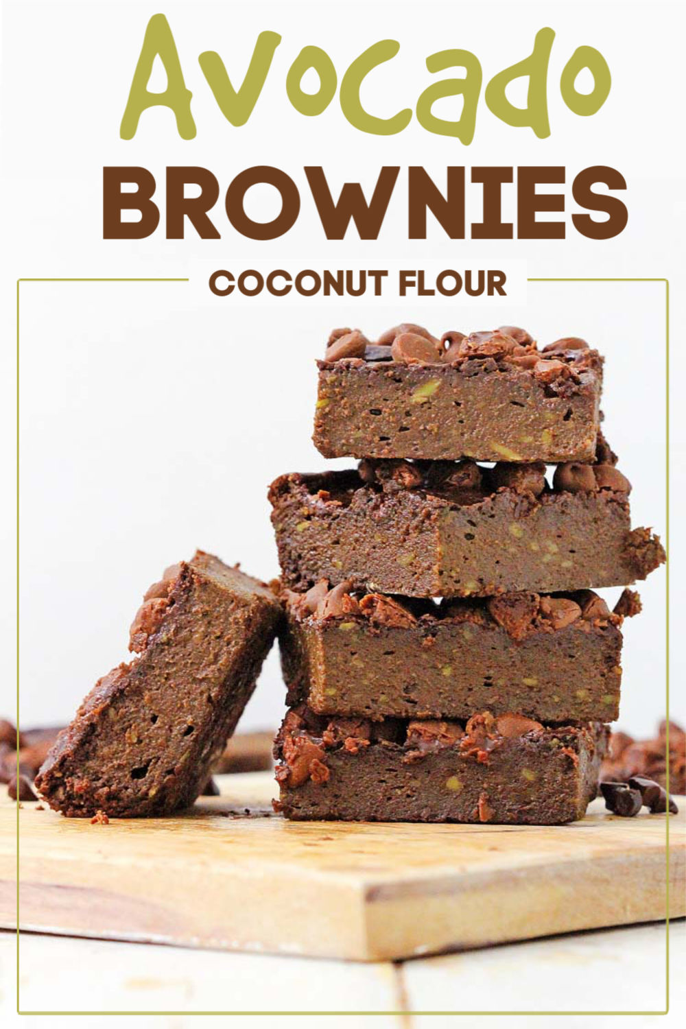 These fudgy avocado brownies are made with coconut flour and are gluten free. But don't tell your kids that! These are out of this world amazing (and you can't taste the avocado). Serve these guilt free! #brownies #avocado #easybaking
