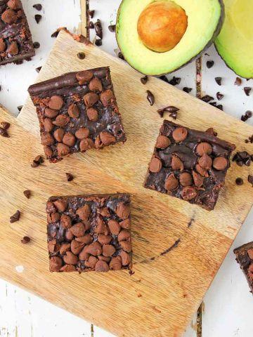 Easy Avocado Brownies on the cutting board