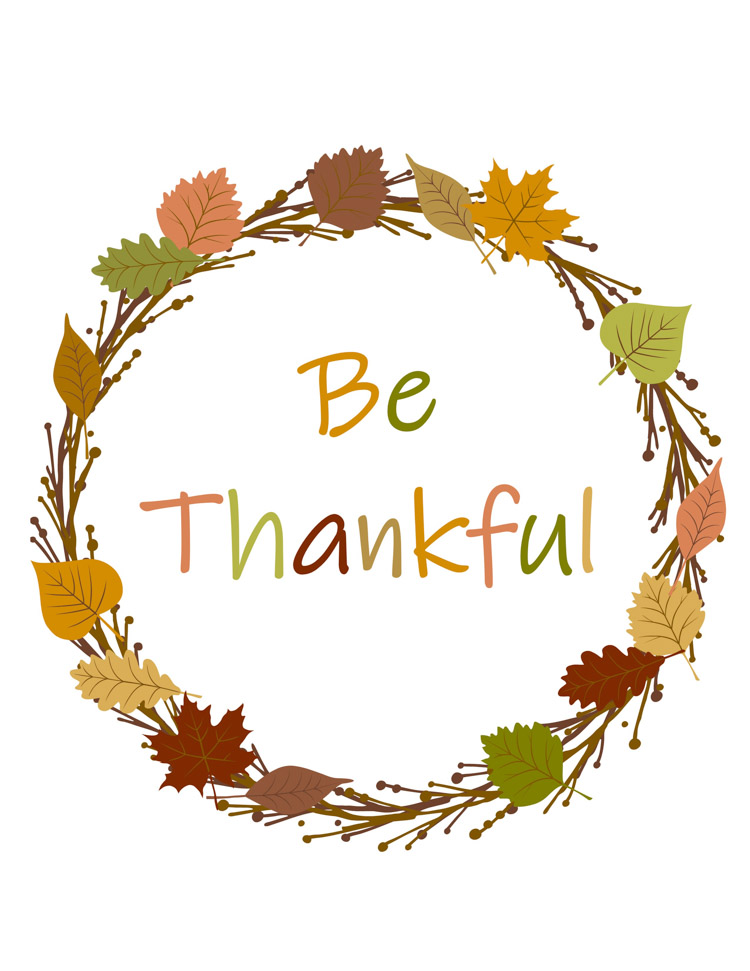 Free Be Thankful Printable for Framing this Fall