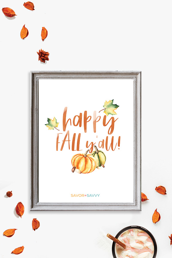 Happy Fall Free Printable in a Frame