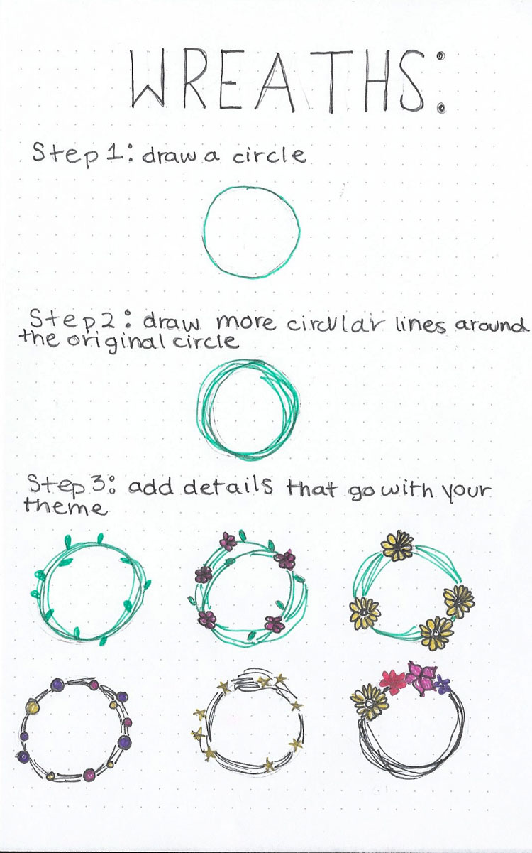 How To Draw Bullet Journal Leaf Flower Rose Wreath Succulents