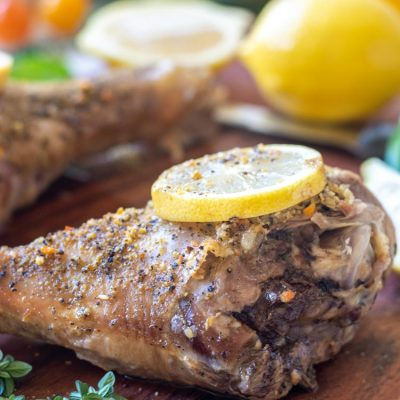 3 Ingredient Slow Cooker Lemon Herb Turkey Legs to Prep in Less than 10 Minutes!