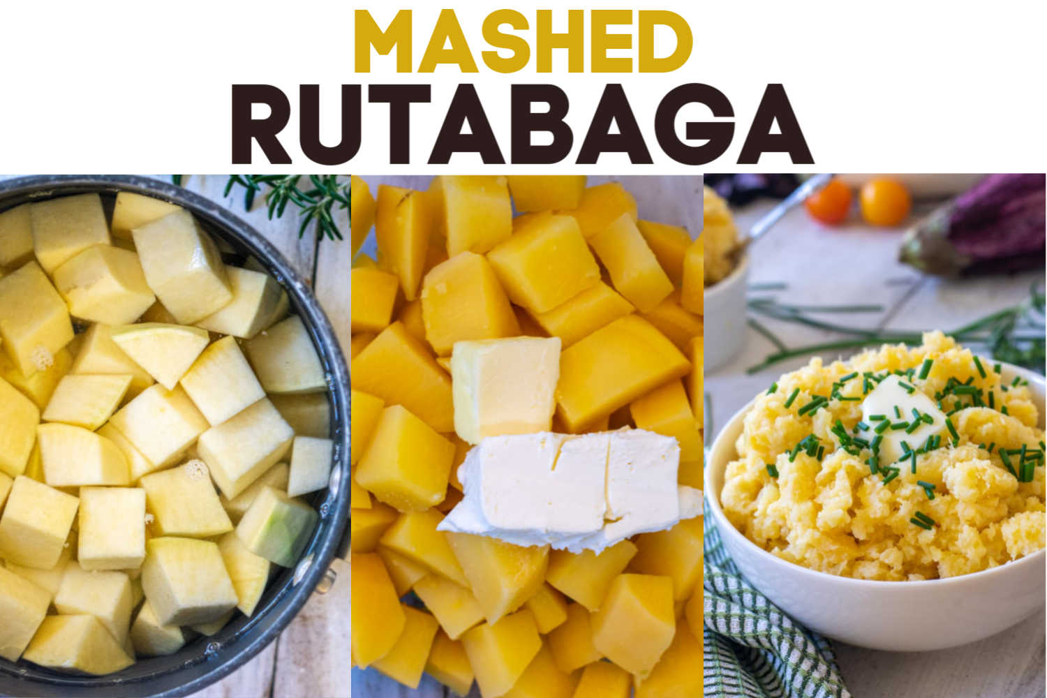 Three images showing the steps to make mashed rutabaga