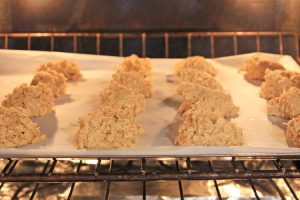 Coconut Flour cookies in the oven on a sheet pan with parchment paper