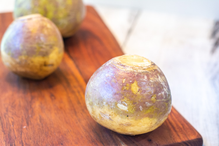 This is what a rutabaga looks like from the store.