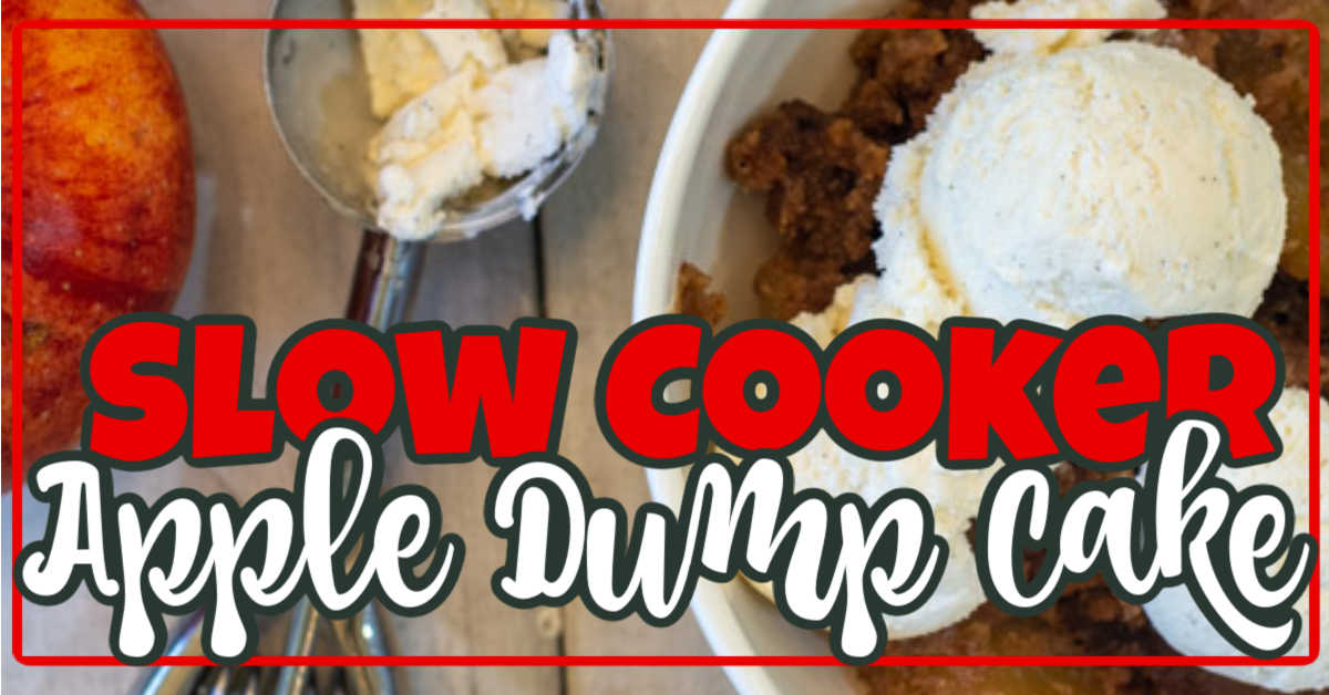 Top down view of ice cream over a bowl of crockpot dump cake