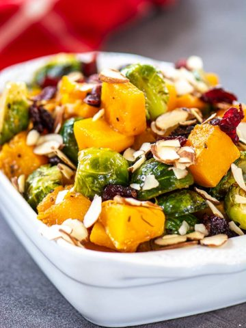 Almonds, Cranberries and a balsamic glaze pair perfectly with these veggies