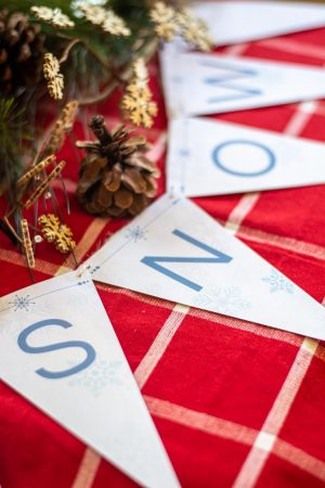 Christmas Bunting Banner Spelling Snow