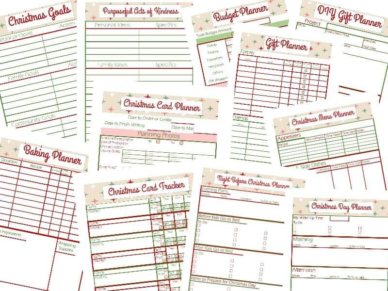 Several pages Holiday Planner Worksheets laid out on a white background