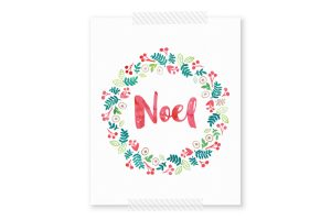 Free watercolor wreath that shows NOEL