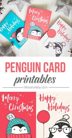 adorable penguin cards with holiday greetings