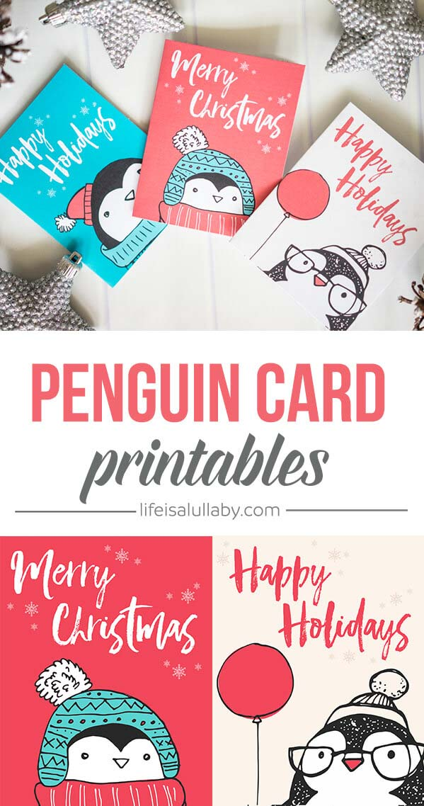 adorable penguin cards with holiday greetings in a cute pencil style.