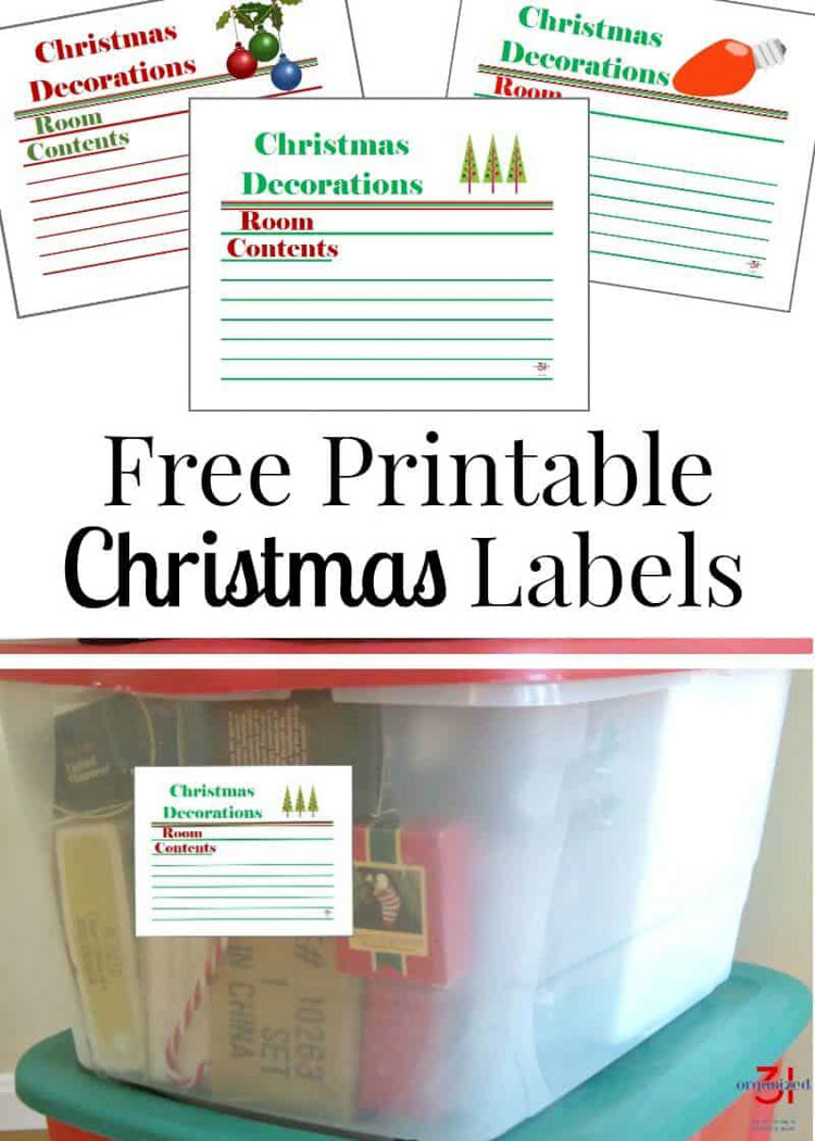 Holiday Storage Labels on the holiday storage bin.