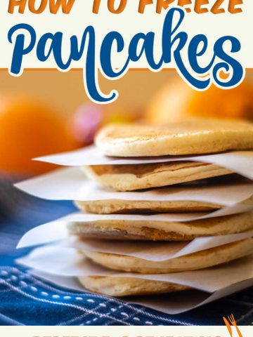Learn how to freeze pancakes for a great grab and go breakfast or late night snack. Follow these easy steps to store fully cooked pancakes for last minute treats! #pancakes