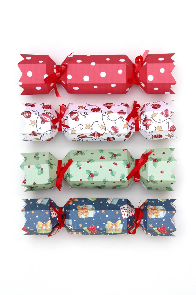 Christmas Crackers made from printable designs on paper