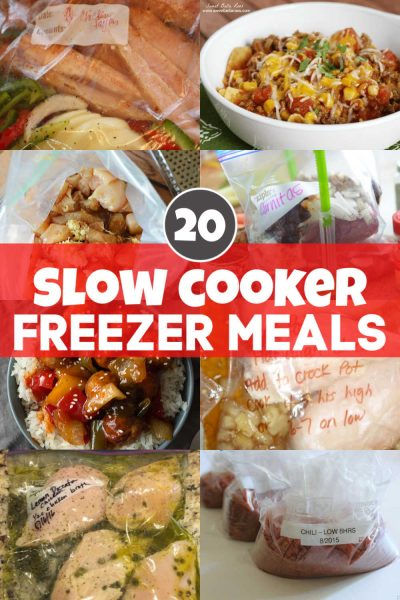 Meal Prep Madness with these 20 amazing slow cooker freezer meals. Here are the easy steps, hints and tricks to make dump and go meals for those days where you are just too busy. Literally, dump the ziplock bag of frozen ingredients into the crock pot and go! It can't get easier than this! #crockpot #freezermeals #slowcooker #mealprep