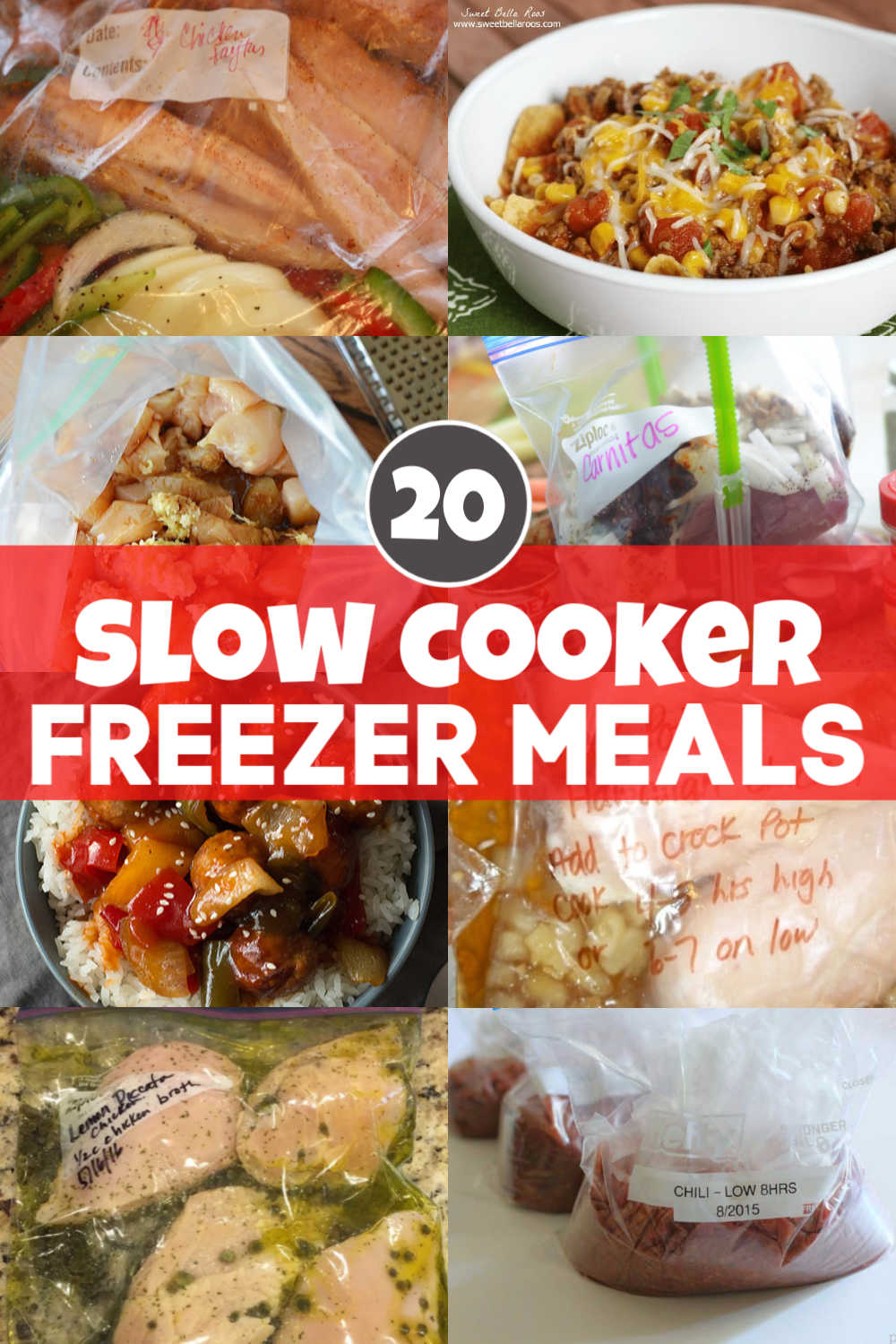 Meal Prep Madness with these 20 amazing slow cooker freezer meals. Here are the easy steps, hints and tricks to make dump and go meals for those days where you are just too busy. Literally, dump the ziplock bag of frozen ingredients into the crock pot and go! It can\'t get easier than this! #crockpot #freezermeals #slowcooker #mealprep