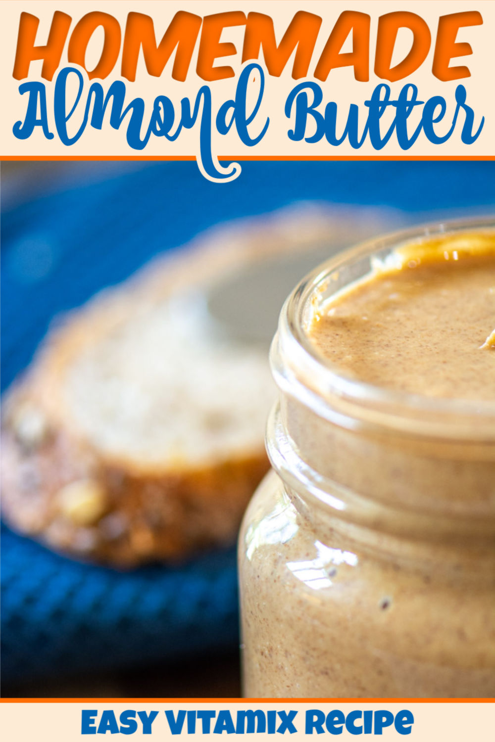 Amazingly simple and delicious homemade almond butter. This peanut butter alternative is extremely healthy and easy to make. One of the best nut butters around. Make it using a food processor or Vitamix to serve on bread or fresh fruits!