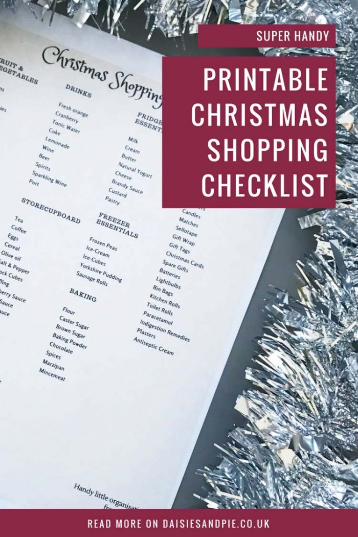Free Christmas Shopping Checklist for everything from baking, drinks, cupboard, etc