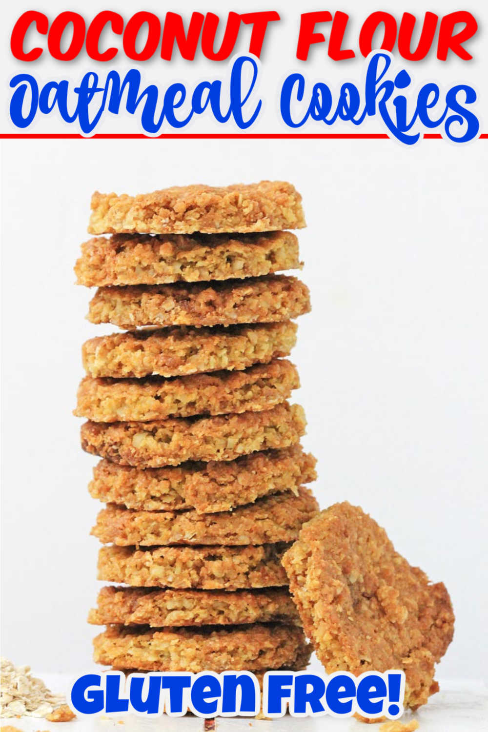 Gluten free coconut flour oatmeal cookies will win you and your family over! Meal prep these to only need to bake a few at a time! #glutenfree #coconutflour #oatmealcookies