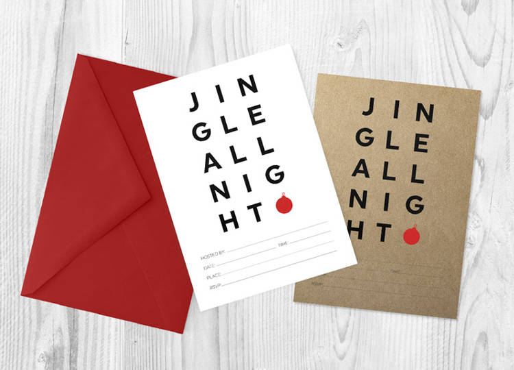 Christmas Invitations with Jingle all night written out in a cute manner.