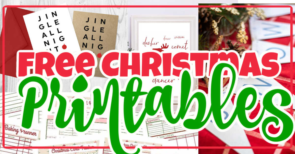 collage of free Christmas printables.