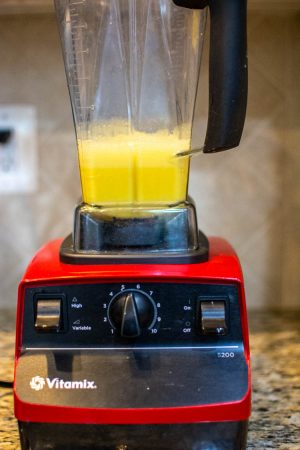 After a few seconds, the eggs are whipped and still in the high speed blender