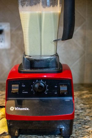 Vitamix after blending the milk, cream nutmeg and vanilla with the eggs